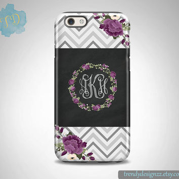 iPhone case, Personalized iPhone case, iPhone 6 case Samsung S6 Case S5 case S4 case Gray Chevron Purple Flowers, Chalkboard Design (2)