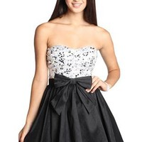 bow front sequin homecoming dress with sweetheart neckline - debshops.com