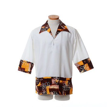 Vintage 60s 70s Kimos Polynesian Shop Hawaiian Wedding Shirt 1960s 1970s Tiki Oasis Party Luau Tribal Pullover Tunic Aloha Shirt / Medium