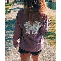 Wholesale Women's Simple Long Sleeve Elephant Pattern Sweatshirt (PURPLE,M), Hoodies & Sweatshirts - Rosewholesale.com