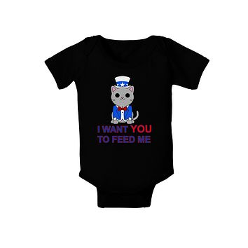 Patriotic Cat I Want You Baby Bodysuit Dark by TooLoud