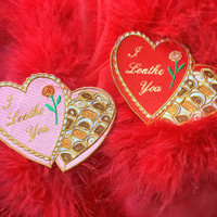 I Loathe You Valentine Box Embroidered Iron On Patch