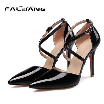 New Big Size 11 12 13 14 15 16 Career Super High Thin Heels women shoes Buckle Strap woman ladies womens Sexy Cross tied