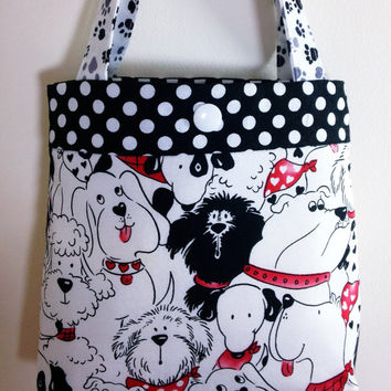 Toddler tote little girl purse dogs puppies tote red tote red purse little girl birthday gift toddler gift tot tote water resistant lining