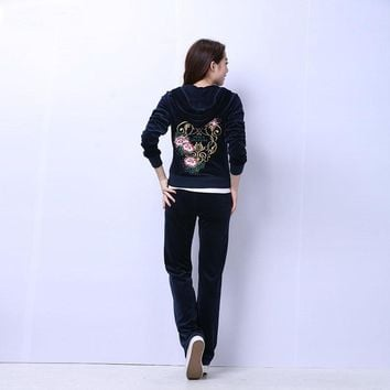Juicy Couture Studded Flowers Velour Tracksuit 6017 2pcs Women Suits Navy
