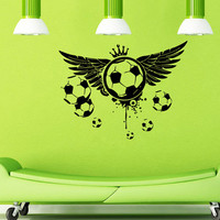 Wall Decals Vinyl Decal Sticker Wall Murals Wall Decor Soccer Ball  Wings  Crown (OS150)
