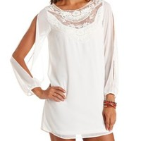 Lace Yoke Cold Shoulder Chiffon Shift Dress - Ivory