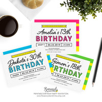 Modern Birthday Party Invitation, Printable Birthday Invitation, Colorful Birthday Invite, Any Age Birthday, Pink, Green, Blue, Yellow