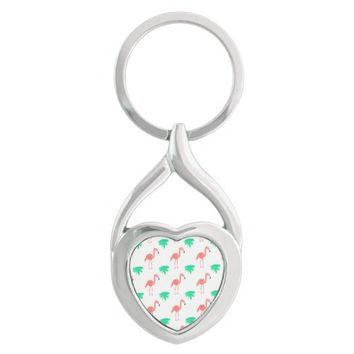 Cute Pink Flamingo Patterned Silver-Colored Heart-Shaped Metal Keychain