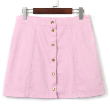 Pink Purple Suedette Buttoned Front Skirt
