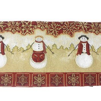 Tache Mr. & Mrs. Snowman Couple Woven Tapestry Table Runners (10323TR)