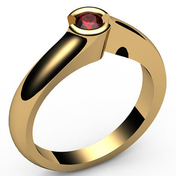 Ruby Engagement ring, Half bezel, tension, Solitaire Ruby Ring, carat,18K Yellow gold,18K White gold, Jewelry