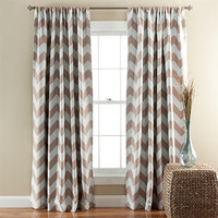 Lush Decor C21286P14-000 Chevron Taupe 84 x 52-Inch Blackout Window Curtain Panel Pair