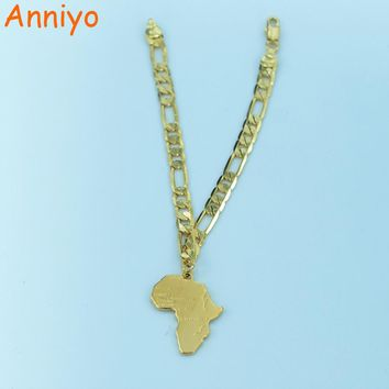 Anniyo 21cm Africa Map Bracelet Chain for Women Men Gold Color African Mens Unisex Jewelry Hand Chain