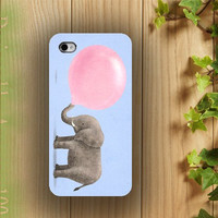 iphone case, i phone 4 4s 5 case, iphone4 iphone4s iphone5 case,stylish plastic rubber silicone cases cover elephant  pink balloon African