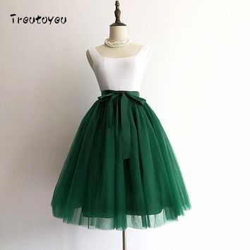 5 Layers 65cm Sexy Midi Tulle Skirt Streetwear Pleated Skirts Womens Short Tutu Femme Winter Gothic Jupe Falda Tul Plisada