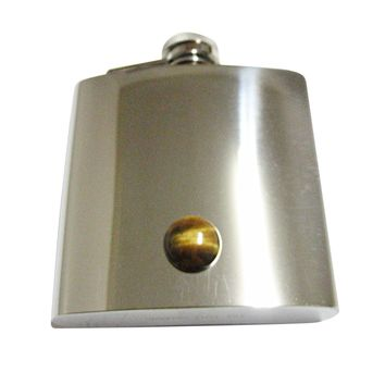 Round Tigers Eye 6 Oz. Stainless Steel Flask