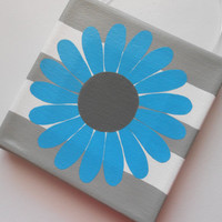 Mix & Match - Flower Wall Art - 6x6 Pure Cotton Canvas Made in USA - Hand Painted - Customiztion Option w/Words on Flower Petals