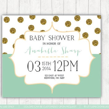 Plka Dot baby invitation - Baby Shower Invitations - Digital File Invites Mint and Gold