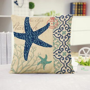 Starfish Cotton Linen Pillow Cover