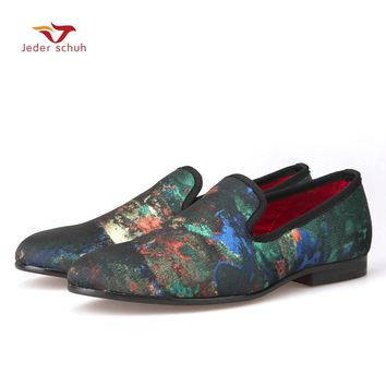 2017 Italian design abstract painting  Causal Shoes Men Plus Size Loafers Smoking Slippers Men's Flats Size 6-15 Free shipping
