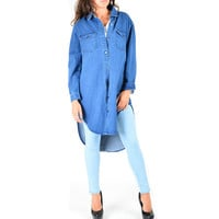 Women's Long Denim Shirts Dress