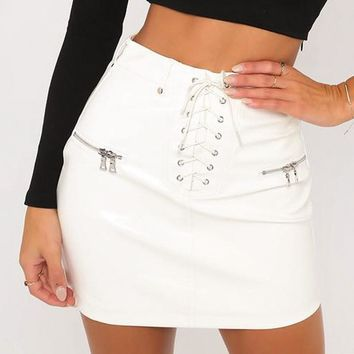 Conmoto Black Faux Leather Skirt White High Waist Zip Front Sexy PU Lace up Pencil Skirt Women Elegant Bodycon Mini Skirt