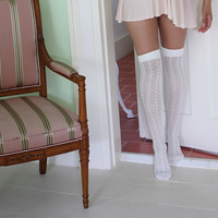 Ivory Pointelle Over-the-Knee socks | Crochet Pointelle Socks | Playful Sophisticated Legwear at Between the Sheets