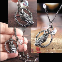 Silver Moon Owl Necklace Oxidized Sterling Silver Whimsical Night Owl Charm Necklace