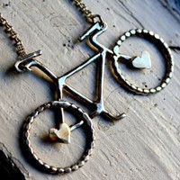 Le Petite Sterling Silver Bike with Hearts Necklace