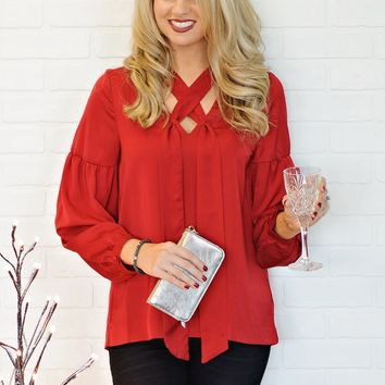 * Christel Blouse With Criss Cross Detail : Candy Apple Red