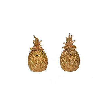 Pineapple Salt & Pepper Shakers Gold Gilded Pineapples Pineapple Salt and Pepper Shakers Wedding Decor Gold Pineapples