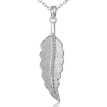 Gift Jewelry New Arrival Shiny Simple Design Fashion Accessory Stylish Leaf Pendant Necklace [4918319620]