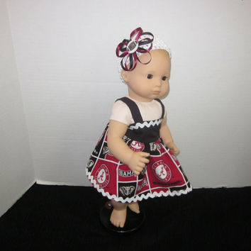 "American Girl Bitty Baby 15"" Baby Doll Dress Made From University of Alabama Fabric Baby Doll Clothes Baby Dolls By Sweetpeas Bows & More"