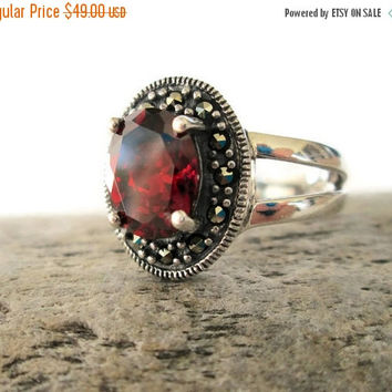 ON SALE Garnet Marcasite Sterling Silver Vintage Ring, Size 7.75, Oval Cut Garnet, January Birthstone, Gemstone