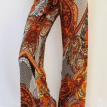 Multi-color Ethnic Print Pants