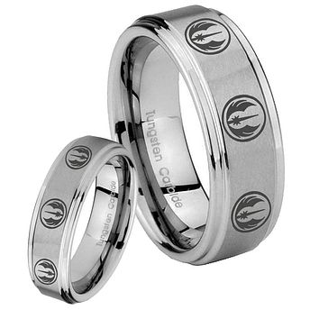 His Hers Multi Jedi Star Wars Step Edges Brushed Tungsten Men's Wedding Band Set