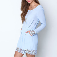 BLUE PLEATED FLORAL CROCHET ROMPER