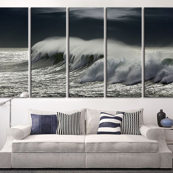 Extra large wall Art Black Ocean Wave, Wall Art Wave on Ocean Canvas Print, Extra Large Ocean Storm Photo Print on Canvas MC15