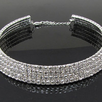 Row Rhinestone Crystal Choker Silver Plated & Gold Plated Necklace.
