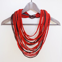 Fabric red and chocolate brown necklace neck ornament loop scarf round scarf tshirt necklace made from upcycled jersey