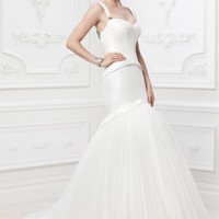 Taffeta Fit and Flare Gown with Corset Seaming - David's Bridal