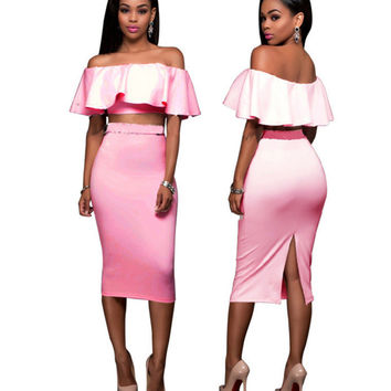 Light Pink Off the Shoulder Ruffles Crop Blouse with Midi Skirt