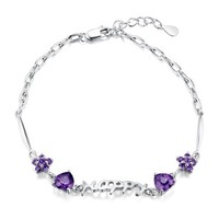 CoolGo Women 925 Sterling Silver Bracelet Jewellery With Hollow Happy Letter and Amethyst Heart And Flower Charms