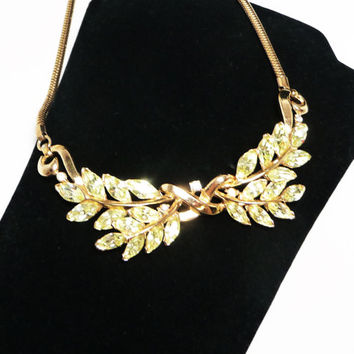 Trifari Yellow Rhinestone Choker Vintage  Bough Necklace - Crown Trifari Signed