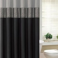 Rio Black and Gray Fabric Shower Curtain with Metallic Silver Accent Stripe