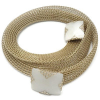 Emmons Gold Tone Metal Mesh Belt Necklace With Lucite Mother Of Pearl Buckles