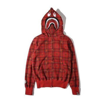 LMFGZ9 Men's Fashion Winter Plaid Hats Zippers Hoodies Jacket [103815446540]