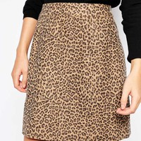 Lost Ink Leopard Textured Mini Skirt