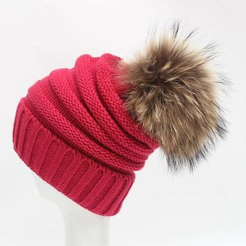 Unisex Slouchy Knitted Beanie Winter Hat Warm Lovely Hairball Women Men Caps Winter Autumn Hip-hop Outwear Beanies For Men#C106